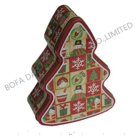 Christmas tree shaped tin box