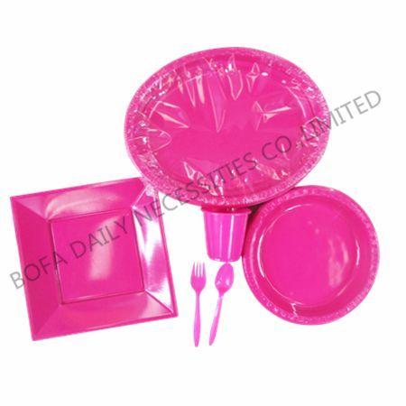 Rose-carmine plastic tableware...