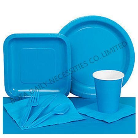 Solid blue tableware set paper...