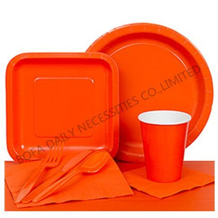 Solid orange tableware set pap...