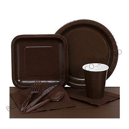 Solid brown tableware set pape...