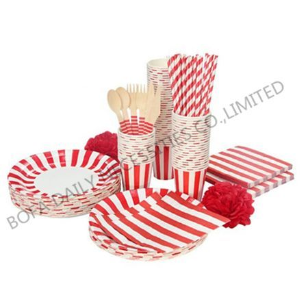 Red strip tableware set paper ...