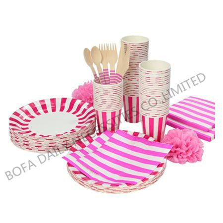 Pink strip tableware set paper...